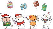 Christmas,Elf,Santa Claus,Reindeer,Snowman,Gift,Humor,Animal,Characters,Cartoon,Ilustration,Rudolph The Red-nosed Reindeer,Vector,Christmas Present,Fun,Holiday,Group Of People,Santa Hat,Standing,Happiness,Celebration,Cheerful,Christmas,Computer Graphic,Smiling,Multi Colored,Holidays And Celebrations,Throwing,Holiday Backgrounds
