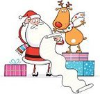 Santa Claus,Christmas,List,Humor,Reindeer,Cartoon,Confusion,Christmas Present,Holding,Antler,Vector,Fun,Gift,Santa Hat,Pensive,Holidays And Celebrations,Christmas,Holiday Backgrounds,Characters,Smiling,Christmas list,Standing,Computer Graphic,Arms Outstretched,Ilustration,Holiday,Rudolph The Red-nosed Reindeer,Happiness,Cheerful,Snowflake,Scarf,Multi Colored,Celebration,Backgrounds,Arms Raised