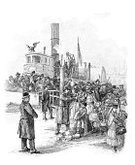Emigration and Immigration,Immigrant,Police Force,USA,Old,Old-fashioned,New York City,History,Ilustration,News Event,Engraved Image,foreigners,Castle Clinton,People,foreigner,Harbor,Exoticism,Pier,Jetty
