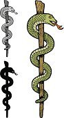 Snake,Caduceus,Healthcare And Medicine,Symbol,Vector,Silhouette,Isolated,Ilustration,Grayscale