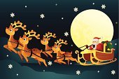 Sleigh,Santa Claus,Reindeer,Flying,Christmas,Pulling,Riding,Cartoon,Snow,Winter,Outdoors,Holidays And Celebrations,Night,Moon,Christmas,Illustrations And Vector Art,Gift,Vector,December,Vector Cartoons,Season,Snowflake,Holiday,Celebration,Cultures,Ilustration,Drawing - Art Product