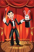 Magician,Rabbit - Animal,Magic,Hat,Magic Trick,Performance,Showing,Circus,Catwalk - Stage,Men,Magic Wand,Animal,Ilustration,Entertainment,Cheerful,Happiness,People,Industry,Cartoon,Drawing - Art Product,Performer,Vector,Vector Cartoons,Illusion,Illustrations And Vector Art,People,Male