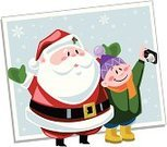 Santa Claus,Photograph,Christmas,Camera - Photographic Equipment,Child,Snow,Cartoon,Holiday,Magic,Hat,Cute,Winter,Scarf,Holidays And Celebrations,Boot,Snowflake,touque,Illustrations And Vector Art,Christmas,Coat,Portrait,Little Boys,Snowing