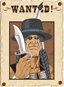 Wanted Poster,Wild West,West - Direction,Native American,North American Tribal Culture,Criminal,Gangster,Cowboy Hat,Braids,Muscular Build,Cartoon,Braided,Knife,Crow Tribe,Cheyenne,Illustrations And Vector Art,Vector Cartoons,eagle feather,Human Muscle,Sioux Indians,Navajo,Arapahoe,Bracelet