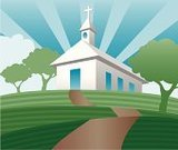 Church,Steeple,Hill,Rural Scene,Footpath,Praying,Road,Christianity,Perfection,Sparse,Catholicism,Cross Shape,Spirituality,Tower,Religion,Tree,Sunbeam,White,Cloud - Sky,Heaven,Serene People,Purity,Tranquil Scene,Green Color,Sky,Time,Concepts And Ideas,Travel Locations,Grass,Innocence
