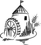 Watermill,Mill,Wheel,Bread,Water,Village,Silhouette,Flour,Bakery,Wheat,Farm,Combine Harvester,Ilustration,Agriculture,Grinding,Organic,Built Structure,Corn On The Cob,Drawing - Activity,Blade,Harvesting,Illustrations And Vector Art,Food And Drink,Painted Image,Food,Architecture And Buildings,Nature,Contour Drawing