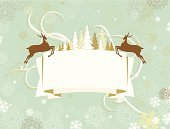 Christmas,Reindeer,Retro Revival,Banner,Old-fashioned,Winter,Snowflake,Snow,Placard,Animal,Christmas Tree,Nature,Coniferous Tree,Christmas,Vector Backgrounds,Holidays And Celebrations,New Year's,Horizontal,Christmas Decoration,Copy Space,Christmas Ornament,Illustrations And Vector Art
