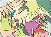Multi-Ethnic Group,Human Hand,Assistance,Variation,Teamwork,Abstract,Community,Cooperation,Religion,Spirituality,Team,Bonding,Friendship,Love,Ilustration,Vector,Multi Colored,Colored Background,Colors,Soul Searching,Fraternity,Palm,Illustrations And Vector Art,Relationships,People,Lifestyle