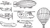 Airplane,Biplane,Blimp,Hot Air Balloon,Flying,Propeller Airplane,Transportation,Symbol,Cartoon,Air Vehicle,Helicopter,Mode of Transport,Icon Set,Military Helicopter,Superhero,Military Airplane,Set,Vector,Illustrations And Vector Art,Transportation,Vector Icons,Commercial Airplane,Pen And Marker,Vector Cartoons,Helium Balloon,Stunt Plane
