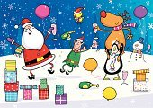Christmas,Santa Claus,Humor,Elf,Cartoon,Dancing,Reindeer,Wine,Party - Social Event,Vector,Fun,Christmas Decoration,Wine Bottle,Celebration,Snowman,Bird,Characters,Holiday,Christmas Cracker,Gift,Backgrounds,Alcohol,Clip Art,Rudolph The Red-nosed Reindeer,Balloon,Bottle,Christmas,Ilustration,Champagne Flute,Happiness,Glass,National Holiday,Decoration,Multi Colored,Santa Hat,Champagne,Holidays And Celebrations,Cheerful,Jumping,Antler,Computer Graphic,Robin,Holiday Backgrounds,Traditional Festival,Scarf,Smiling