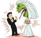 Wedding,Bride,Conflict,Monster,Fear,Anger,Wife,Husband,Displeased,Furious,Fighting,Hungry,Love,Animal,Lizard,People,Weddings,Vector Cartoons,Holidays And Celebrations,Dress,Tuxedo,Sweat,Animal Tongue,Illustrations And Vector Art