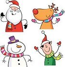 Christmas,Elf,Santa Claus,Reindeer,Characters,Snowman,Rudolph The Red-nosed Reindeer,Ilustration,Humor,Antler,Cartoon,Computer Graphic,Scarf,Smiling,Happiness,Christmas Decoration,Clip Art,Holiday,Cheerful,Vector,Multi Colored,Christmas,Isolated On White,Decoration,Fun,Arms Raised,Standing,Traditional Festival,Holiday Backgrounds,Arms Outstretched,Backgrounds,Celebration,Holidays And Celebrations,Santa Hat,National Holiday