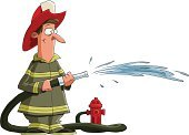 Firefighter,Garden Hose,Fire Hose,Fire Hydrant,Vector,Water,Cartoon,Fun,Jet - Band,Uniform,Cute,Extinguishing,Adult,Men,Ilustration,Occupation,Falling Water,Male,People,Characters,Drawing - Art Product,Drawing - Activity,Isolated Objects,Pencil Drawing,One Person,Isolated On White,Work Helmet,Illustrations And Vector Art,Vector Cartoons,People,Isolated,Objects with Clipping Paths