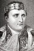 Napoleon Bonaparte,Ilustration,Crown,France,General,Historical Document,Name Of Person,History,Image Created 19th Century,Period Costume,Fine Art Portrait,Emperor,Men,Royal Person,Engraved Image,Vertical,Napoleonic Wars,19th Century Style,Officer,French Culture,Travel Locations,Steel Engraving,People,Leadership,One Person,Military Uniform,French Military,European Culture,Dictator,Regency Style,Only Men