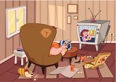 Living Room,Television Set,Sofa,Cartoon,Overweight,Men,Messy,Looking,People,Newspaper,Eating,Resting,Loneliness,Pizza,Relaxation,One Person,Remote Control,Vector,Ilustration,Unhealthy Eating,Food,Can,Male,Watching,Adult,Popcorn,Sitting