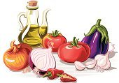 Vegetable,Olive Oil,Onion,Tomato,Sauces,Chili Pepper,Food,Computer Graphic,Garlic,Vegetarian Food,Tomato Sauce,Eggplant,Red,Purple,Ilustration,Green Color,Orange Color,European Cuisine,White,Studio Isolated,Yellow,Extra Virgin Olive Oil,Condiment,Gray,Fruits And Vegetables,Spanish Onion,Mediterranean Food,Food And Drink,Digitally Generated Image,Food Additive,Black Color,Food Staple,Red Chili Pepper,Raw Food,Vector,Italian Eggplant,White Background,Multi Colored,Art Product
