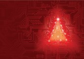 Christmas,Technology,Circuit Board,Christmas Tree,Internet,Electronics Industry,Electrical Equipment,Greeting,Holiday,Tree,Backgrounds,Cyberspace,Christmas Decoration,Season,Abstract,Winter,Christmas Ornament,Ilustration,Shiny,Mother Board,Design Element,Vector,Glowing,Shape,Horizontal,Copy Space,Star Shape