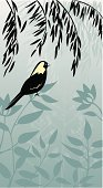 Willow Tree,Bird,Finch,Tree,Birdsong,Canary,Japanese Culture,Sage,Leaf,Black Color,Backgrounds,Textile,Singing,Retro Revival,Turquoise,Floral Pattern,White,Multi-Layered Effect,Gray,Ilustration,Flower,Summer,Plant,1940-1980 Retro-Styled Imagery,Flower Bed,Asia,Yellow,Landscaped,Springtime,Softness,Dust,Digital Composite,Vertical,Perching,Artificial Wing,Wing,odltimer,Beauty And Health,Relaxation,Concepts And Ideas,Travel Locations,Flowing,Fashion,Carefree,Tranquil Scene,One Animal,Sitting