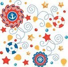Party - Social Event,Starfish,Anchor,Backgrounds,Icon Set,Beach,Design Element,Star Shape,Bead,Buoy,Sea,Swirl,Animal Shell,Red,Colors,Blue,Spotted,Steering Wheel,Yellow,Decoration,Pattern,Ribbon,Summer,Design,Group of Objects,Ilustration,Curled Up,Gold Colored,Spiral