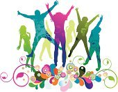 Teenager,Group Of People,Dancing,Jumping,Music Festival,Silhouette,People,Party - Social Event,Joy,Backgrounds,Computer Graphic,Touching,Color Image,Positive Emotion,Happiness,Young Adult,Vector,Celebration,Enjoyment,Style,Women,Isolated,Lifestyles,Multi Colored,Floral Pattern,Emotion,Teenage Girls,Cheerful,Grunge,Green Color,Disco Dancing,Action,Ilustration,Design,Pink Color,Drop,Men,Illustrations And Vector Art,Lifestyle,Blue,Yellow,People,Teens,Image,Holiday