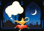 Arabia,Magic Lamp,Genie,Night,Arabic Style,Electric Lamp,Pillow,Urban Skyline,Vector,East Asia,Teapot,Window,Smoke - Physical Structure,Arch,Persian Culture,Town,Cushion,Cultures,City,Gold Colored,Architectural Column,Silhouette,Magic,Mystery,Chalice,Minaret,Wishing,East,Shiny,Old-fashioned,Desire,Mythology,Travel Locations,Cityscape,Tower,Antique,Objects/Equipment