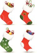 Christmas Stocking,Christmas,Gift,Sock,Candy,Holiday,Christmas Decoration,Holly,Design,Decoration,Snowflake,Cultures,Holidays And Celebrations,Red,Illustrations And Vector Art,Set,Ribbon,Celebration,Ornate,Candy Cane,Christmas Ornament,Collection,Bow,Arts And Entertainment,Gift Box,Christmas