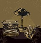 Typewriter,Retro Revival,Old-fashioned,Calculator,Desk,Electric Lamp,1940-1980 Retro-Styled Imagery,Antique,Group of Objects,Office Interior,1940s Style,Lighting Equipment,Business,Illustrations And Vector Art,Objects/Equipment,hand drawn,Correspondence,Vector,Ilustration,Illuminated,Sepia Toned