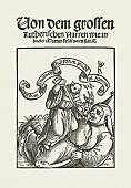 Martin Luther - Religious Leader,Jester,Book Cover,Protestantism,Conflict,Religion,glaube,Change,Fool,Ethnocultural History,Aggression,Teasing,Titles,Engraved Image,Donny Deutsch,People,Luther - TV Series,Vertical,Sneering,Satire,Humor,Oriental Style Woodblock Art,Woodcut,Caricature,Protestant Reformation,Satyr,Catholicism,History,Germany,German Culture,Christianity,Mischief