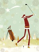 Golf,Christmas,Christmas Card,Santa Claus,Snow,Holiday,Winter,Playing,Sport,Star - Space,Ball,Putting Green,Golf Ball,Vector,Landscape,Star Shape,Cartoon,Golf Club,Design,Snowflake,Vertical,Sports Activity