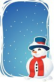 Cheerful,Happiness,Holiday,Snowman,Christmas,Snow,Blue,Winter,Holiday Backgrounds,Backgrounds,Holidays And Celebrations,Illustrations And Vector Art,Ilustration,Christmas,Vector Backgrounds,Vector,Celebration,Smiling,Snowing,Top Hat