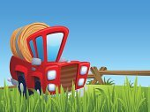 Cartoon,Farm,Pick-up Truck,Backgrounds,Bale,Crop,Nature,Ilustration,Field,Outdoors,Red,Vector,Ute