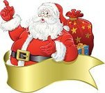 Santa Claus,Christmas,Bag,Vector,Cartoon,Showing,Gift,Christmas Present,Isolated On White,Holly,Ilustration,Christmas,Holidays And Celebrations,Computer Graphic,Red,Illustrations And Vector Art