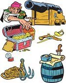 Pirate,Cartoon,Compass,Barrel,Sword,Ilustration,Rope,Men,Coin,Map,Gun,Gold,Risk,Dresser,Isolated Objects,Vector Cartoons,Adventure,ducats,Illustrations And Vector Art,attributes,People,Knife,Trunk,Wealth,Aggression,History
