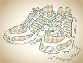 Sports Shoe,Running Spikes,Shoe,Sport,Doodle,Sketch,Vector,Competitive Sport,Sepia Toned,Isolated,Sprinting,Healthy Lifestyle,Vector Cartoons,Runnign,Fitness,Sports And Fitness,Illustrations And Vector Art