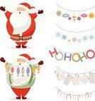 Santa Claus,Fish,Candy,Cartoon,Garland,Letter,Holiday,Mail,Christmas Ornament,Symbol,Christmas Decoration,Winter,Snowflake,Decoration,Gift,Characters,Pattern,White Background,Set,Isolated,Design Element,Design,Mint,Collection
