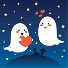 Ghost,Monster,Love,Halloween,Silhouette,Cartoon,Heart Shape,Cute,Cheerful,Happiness,Valentine's Day - Holiday,Tomb,Spooky,Smiling,Mystery,White,Emotion,Star - Space,Shadow,Passion,Togetherness,Illustrations And Vector Art,Grave,Cemetery,Horror,Fun,Fantasy,Dark,Humor,Night,Holidays And Celebrations,Valentine's Day,Backgrounds,Couple,Tombstone,Ilustration,Vector,Characters,Halloween