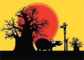 Baobab Tree,Africa,Savannah,Silhouette,Hippopotamus,Tree,Cartoon,Giraffe,Safari Animals,Overweight,Sunset,Animal,Large,Animals In The Wild,Nature,Arid Climate,Light - Natural Phenomenon,Mammal,Black Color,Wild Animals,Nature,Vector Cartoons,Animals And Pets,Animal Skin,Environment,Humor,Illustrations And Vector Art,Orange Color,Dusk,Beauty,Nature Abstract,South