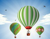 Hot Air Balloon,Air,Taking Off,Cumulus Cloud,Air Vehicle,People Traveling,Mode of Transport,Moving Up,Land Vehicle,Adventure,Sky,Bird,Cloudscape,Flying,Vector,Multi Colored,Transportation,Liberty,Concepts,Blue,Cloud - Sky,Striped,Freedom,Journey