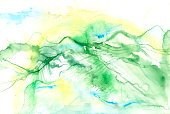 Watercolor Painting,Abstract,Mountain,Landscape,Painted Image,Paintings,River,Green Color,Scenics,Looking At View,Valley,Hiking,High Up,Art Product,Pasture,Nature,Art,Textured