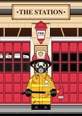 Fire Station,Fire Engine,Firefighter,Characters,Fire Department Sign,Station,Door,Cartoon,Ilustration,Emergency Services,Emergency Services Occupation,Emergency Services Vehicle,Work Helmet,Heroes,Mode of Transport,Vector,Occupation,Built Structure,Illustrations And Vector Art,Electric Lamp,People,Blue Eyes,Modern,Transportation,One Person,Urban Scene,Axe,Badge,Ventilator,Protective Glove,Building Exterior,Uniform,Cute,Standing,Clip Art,Vector Cartoons,Jacket,Architecture,Sidewalk,Mask,Architecture And Buildings
