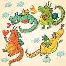 Dragon,Cute,Cartoon,Fantasy,Monster,Ilustration,Fun,Red,Fire - Natural Phenomenon,Set,Wing,Green Color,Group Of Animals,Chinese Culture,Symbol,Animal,Vector Cartoons,Reptile,Illustrations And Vector Art,Animals And Pets,Color Image,Characters,Vector,Mythology,Ancient,Tail