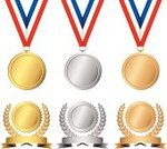 Medal,Gold,Gold Medal,Gold Colored,Seal - Animal,Award,Silver - Metal,Silver Colored,Bronze,Bronze,The Olympic Games,Award Ribbon,Metal,Symbol,Award Plaque,Vector,Laurel Wreath,Achievement,Wreath,Silver Medal,Banner,Blank,Isolated,Bronze Medal,Winning,Ilustration,Success,Competition,First Place,Necklace,Design Element,Second Place,Competition,Concepts And Ideas,Third Place,Sports And Fitness,Design,Illustrations And Vector Art,Copy Space,Shiny,Success