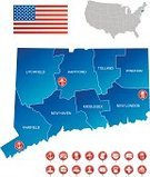 Connecticut,Map,Icon Set,Post Office,Temple - Building,state,Blue,Central America,USA,Red,Computer Icon,The Americas,Organization,White,Hospital,Obelisk,Text,Ilustration,Intricacy,City,Airport,Restaurant,Movie Theater,Gas Station,Symbol,North America,Geographical Locations,Railroad Station,Bridgeport - Connecticut,White Background,Vector,Cartography,Cafe,Church,Isolated,Dividing,Car Wash,American Flag,Flag,Library,Harbor,names