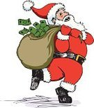 Santa Claus,Currency,Wealth,Paper Currency,Men,Bag,Sack,Carrying,Christmas,Running,Ilustration,Holiday,Delivering,Christmas,Award,Vector,Vector Cartoons,People,Holidays And Celebrations,Illustrations And Vector Art,Dollar,Senior Adult