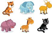 Zoo,Animal,Animal Themes,Elephant,Hippopotamus,Cartoon,Clip Art,Ilustration,Giraffe,Tiger,Vector,Black Leopard,Feline,Mammal,Big Cat,Africa,Animals In The Wild,Jungle Animals,Cheerful,Wild Animals,Illustrations And Vector Art,Isolated On White,Set,Savannah,Isolated,Animals And Pets,Isolated Objects,Vector Cartoons,Carnivore,Antelope,Computer Icon,Characters,Safari Animals,Herbivorous,Wildlife