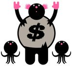 Octopus,Animal,Characters,Cartoon,Pink Color,Humor,Fun,Torn,Animals And Pets,Dollar Sign,Black Color,Saluting,Animal Themes,Sea Life,Ilustration,Tentacle,Standing,Staring