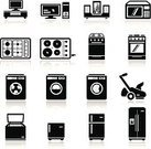 Appliance,Symbol,Refrigerator,Washing Machine,Icon Set,Stove,Dryer,Oven,Electrical Equipment,Electronics Industry,Microwave,Vector,Black Color,Television Set,Back Lit,Speaker,Computer,DVD Player,Equipment,Electric Hob,Lawn Mower,Stereo,VCR,Set,Collection,PC,Ilustration,cook-top,Screen,Computer Monitor,Isolated,Music System,Objects/Equipment,Household Objects/Equipment,MP3 Player
