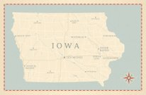 Iowa,Map,Dubuque,Cartography,USA,Old-fashioned,Vector,Retro Revival,Sioux City,Council Bluffs,Des Moines,Multiple Lane Highway,Antique,Iowa City,Waterloo,Davenport - California,Lake,Compass,Intricacy,River,Highway,Cedar Rapids,1940-1980 Retro-Styled Imagery,Textured,Coastline