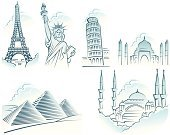 New York City,Eiffel Tower,Statue of Liberty,Travel,Istanbul,Mosque,Blue Mosque,Vacations,Symbol,Turkey - Middle East,Cairo,Paris - France,Cartoon,Pyramid,Taj Mahal,Africa,USA,Holiday,Leaning Tower of Pisa,Italy,France,Giza,India,Pyramid Shape,Cultures,Adventure,Egyptian Culture,Egypt,Blue,Asia,Europe,Holiday Symbols,Arts And Entertainment,Set,Illustrations And Vector Art,Holidays And Celebrations,Arts Symbols