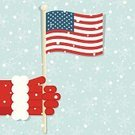 Winter,Christmas,USA,American Flag,Flag,Patriotism,Santa Claus,Holding,Glove,Human Hand,Backgrounds,Snow,Arts And Entertainment,Computer Graphic,Illustrations And Vector Art,Cultures,Arts Symbols,Holidays And Celebrations,Vector,Blue,Season,White,Vector Ornaments,Red,Snowflake,Ilustration,Concepts,Christmas,Holiday,Gripping,Fur
